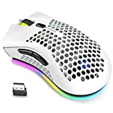Wireless Lightweight Gaming Mouse, Ultralight Honeycomb Mice with RGB Backlit, Adjustable DPI, Bluetooth 2.4G Wireless Rechargeable Ergonomic Optical Sensor Mouse for PC Mac Gamer(Dual Mode-White)