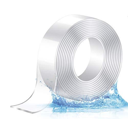 ilauke Extra Starke Klebekraft Durchsichtiges Klebstoff, 6M Nano Entfernbares Klebeband, Doppelseitig Stark, Wiederverwendbares, Transparent, Wasserdicht, Hitzebeständig, Abnehmbar, Rückstandsfrei