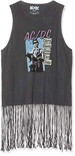 ACDC AC/DC Dirty Deeds Done Dirt Cheap (Tassels) Camiseta, Gris (Grey Grey), 38 (Talla del Fabricante: Medium) para Mujer
