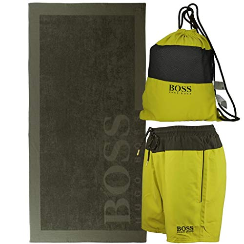 BOSS Hugo Beach Set 1 badshorts 1 handdoek 1 stoffen rugzak (XL(7) 54, groen kiwi)