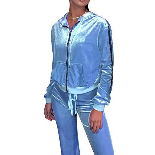Unifizz Women's 2 Piece Velvet Tracksuit Women Sweatsuits Set Stripe Zipped Hooded Sweatshirts & Long Pants Jogging Oufits Jumpsutis Velour 226_Blue S