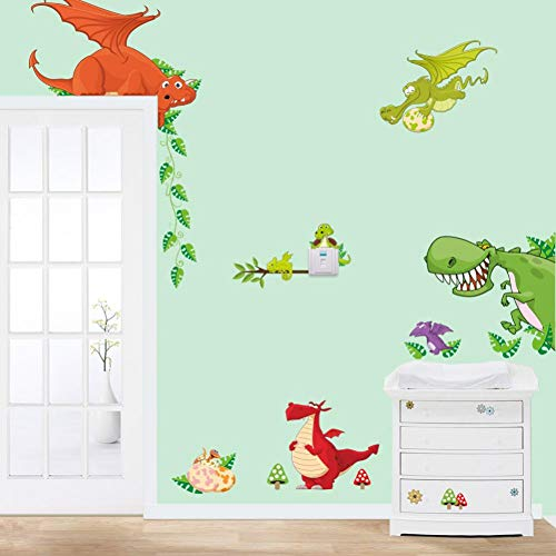 TAOYUE Cartoon Dinosaur Zoo Muursticker Kids Kamer Slaapkamer Achtergrond Decoraties muurschildering Deur Kwekerij Stickers Kast Behang