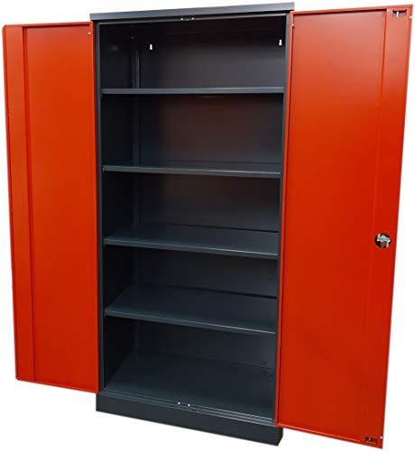 XL Werkstattschrank Schwerlastschrank Vorratsschrank Flügeltürschrank Stahlschrank 195x92x50 cm Anthrazit/Rot