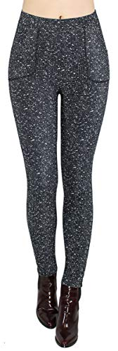 dy_mode Thermo Hose Damen Winter Leggings mit Innenfutter - WL059-64 (WL106-Grau, 40/L)
