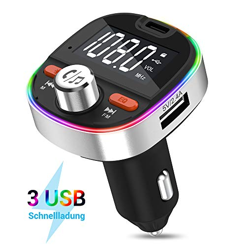 MustWin FM Transmitter Bluetooth Adapter Auto mit 3 USB Ladegerät, KFZ Radio Transmitter Bluetooth 5.0 PD 3.0 Freisprecheinrichtung mit 7 Umgebungslicht +Bass, Unterstützt 64GB TF-Karte USB-Stick