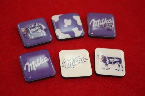 6 Milka krachtmagneten in set 22 x 22 mm magneet magneten chocolade