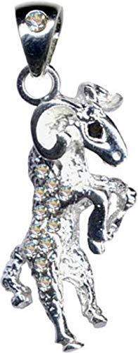 Colgante de plata de ley 925 con diseño de Capricornio, signo del zodiaco Aries, plata de ley 925, circonitas, cristales brillantes, joya de plata de ley 925, color blanco