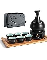 LOUTYTUO Juego de Sake de cerámica + Bandeja de bambú para Olla más Caliente, Bebida Saki Caliente de cerámica Segura para Estufa, Caja de Regalo de Almacenamiento de Sake de 10 Piezas