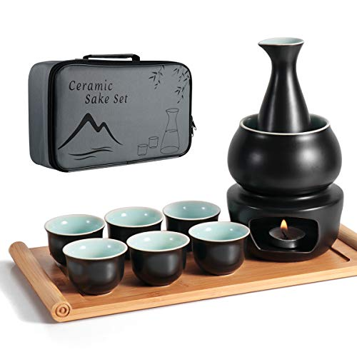 Dltsli Ceramic Sake Set with Warmer Pot Bamboo Tray, Stovetop Porcelain Pottery Hot Saki Drink Bottle, 10pcs Set 1 Stove 1 Warming Bowl 1 Sake Bottle 1 Tray 6 Cup Keep Sake Storage Gift Box