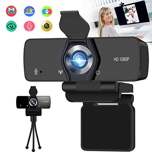 Burxoe Webcam with Microphone, 1080P HD Streaming Web Camera for Desktop Computer Laptop, PC USB Camera Wide Angle 110-Degree with Privacy Cover Tripod Mic for Study, Video Calling, Conference