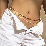 Sethain Boho Colgante de perlas para la cintura, dorado, cadena para el vientre o bikini, playa, joyería corporal, para mujeres y niñas