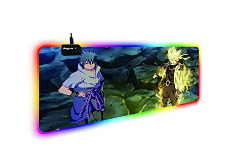 Japon Anime Naruto RGB Souris Tapis 1.8 M Câble USB Clavier Tapis De Souris Led Rétro-Éclairage XXL Surface Mause Pad Clavier Bureau Tapis-RGB 300X600X4MM