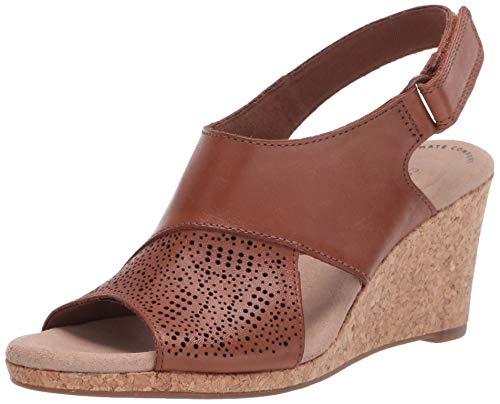 Clarks Women's Lafley Joy Wedge Sandal, Tan Leather, 5 M US