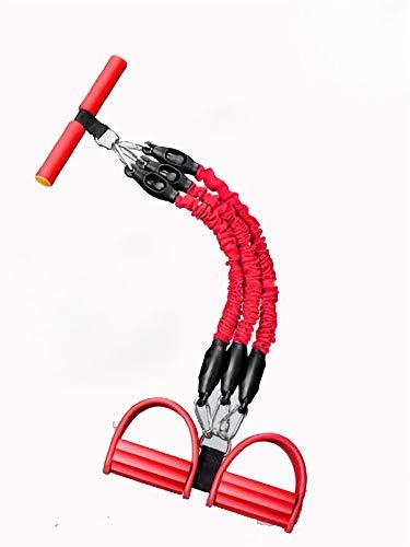 KEIT Bandas Elasticas, Pedal Tensor Multifuncional, Gomas Elasticas Mango De Espuma Ecologica Bandas Elasticas Musculacion Es Apta para Fitness, Adelgazamiento Y Modelado. (Color : Red)