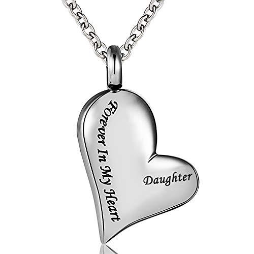 Cremation Urn Necklace Daughter Forever In My Heart Stainless Steel Keepsake Waterproof Memorial Heart Pendant