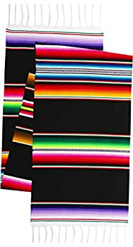 Threads West Genuine Mexican Premium Handwoven Bright MexicanTable Runner Saltillo Serape Colorful Striped Sarape 60  x 12   Black