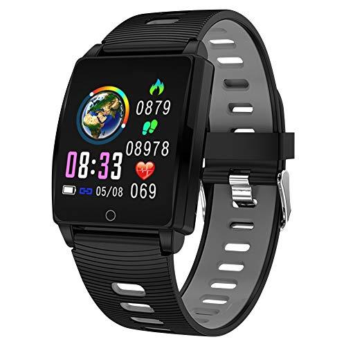 Padgene SmartWatch Reloj Inteligente IP67 Impermeable Bluetooth Pulsera Actividad Deportiva con Pulsómetro Monitor de Sueño, Música, Notificación de Llamada Mensaje para Android e iOS (Gris)