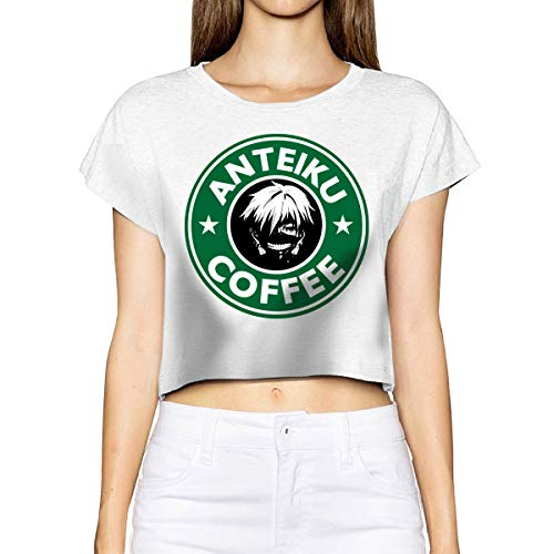Gintamade vrouwen Kaneki Ken koffie korte mouw Crop Top T Shirts