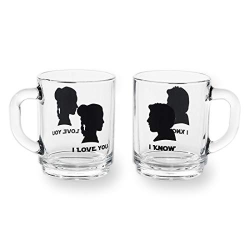 getDigital 14155 Teegläser-Set I love you + I know - Zwei Henkel-Gläser mit Portraits von Han Solo und Prinzessin Leia Organa