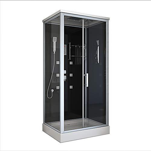Home Deluxe - Komplettdusche 100x80 - Duschkabine Wave L mit Regendusche | Duschtempel, Fertigdusche, Dusche Komplett