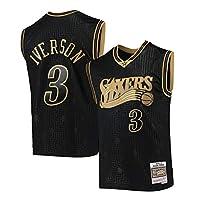76ersアイバーソン 76ers Iverson #3メンズバスケットボールジャージ、通気性があり快適なスポーツウェア、Retro Meshファブリックノースリーブスポーツ