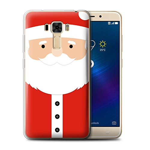 Stuff4 Phone Case for Asus ZenFone 3 Laser ZC551KL Christmas Character Santa Claus Transparent Clear Ultra Soft Flexi Silicone Gel/TPU Bumper Cover