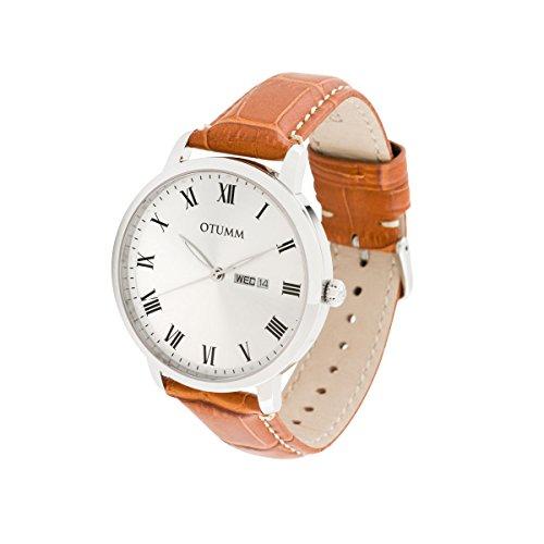 OTUMM Herren-Armbanduhr Speed Classic43 mm, Silber Analog Quarz Leder 02184