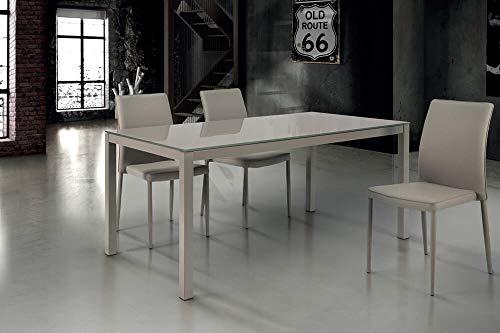 Milani Home s.r.l.s. Tavolo da Pranzo Moderno di Design Allungabile Cm 90 X 140/190 Tortora con Piano in Vetro per Arredo Casa Sala da Pranzo