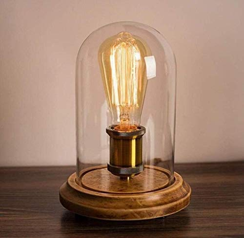 MGWA Lámpara de Mesa Lámpara de Escritorio Lámpara de Mesa de Madera Maciza Lámpara de Mesa Vintage Nordic Cafe Casa de Vidrio Shade Lighting Fixtures E27, Cobre, A