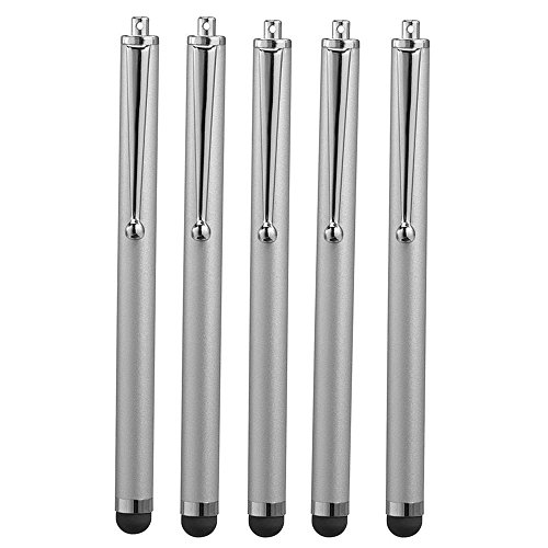 Reedax 5 x Touch Pen für alle Touchscreen iPhone, iPad Mini, Samsung, HTC, Motorola, Sony, Microsoft und Tablets (Silber)