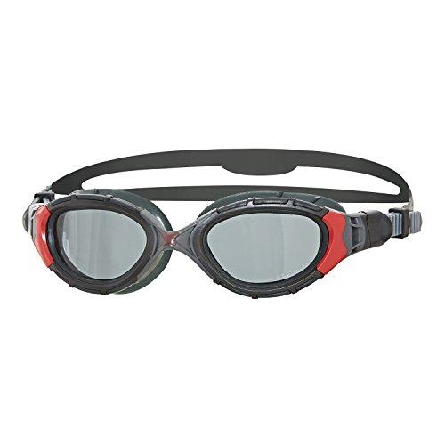 Zoggs Predator Flex Polarized Gafas de Natación, Unisex, Negro/Rojo/Gris, Talla única