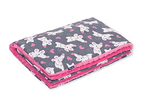 Pepi Leti 685843716846 Verliefd in muizen knuffeldeken Pink Minky, babydeken, kinderdeken, 100 x 75 cm deken, meerkleurig