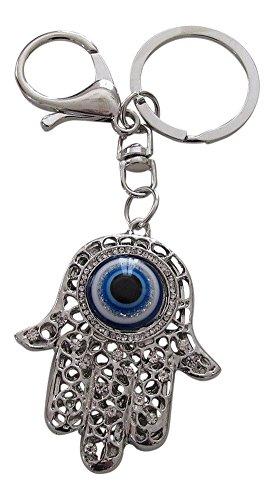 Schmuck für Tasche, Schlüsselanhänger, Hand der Fatima, Fatima und Auge, Stahl Silber.