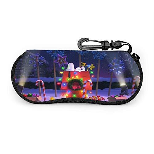 Estuche para anteojos Estuche para gafas de sol Snoopy de Navidad de dibujos animados Estuche para gafas con cremallera de neopreno ultra suave y ligero con clip para cinturón