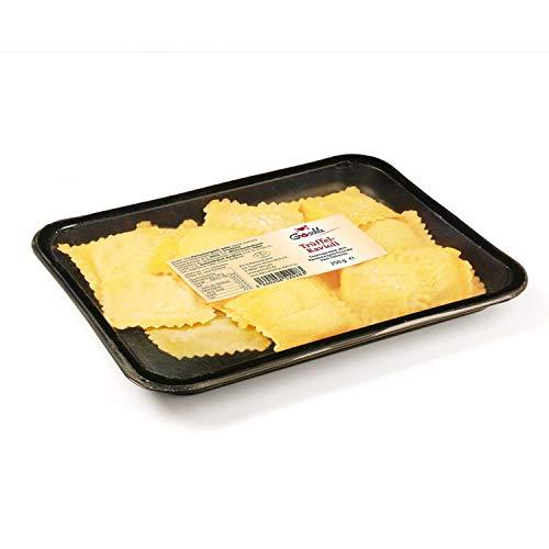 Die Trüffelmanufaktur - Feinkost Trüffel Ravioli mit 3,5 % echtem schwarzem Trüffel, vegetarische Trüffelravioli mit cremiger Frischkäse-Füllung, vorgegarte frische Teigtaschen, 250 g Packung