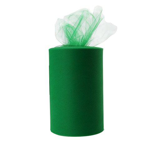 Paor 100 Yardas 15cm de ancho Tela de cinta de tul para la decoración de la fiesta Wraping Craft Bow Girl Tutu Color Verde oscuro/rosa / púrpura Amarillo limón/Azul marino/Blanco (Dark Green)