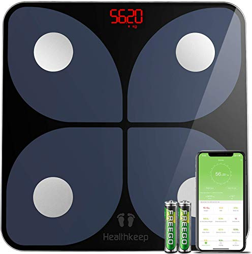 Waage Personenwaage Digital Körperfettwaage Wireless Waage Personen Hochpräzisions-Sensoren mit APP für 13 Körperdaten Analysiert Körperfett, BMI, Gewicht, Muskelmasse, Wasser, Protein, BMR, 180kg