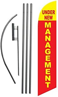 Under New Management Advertising Feather Banner Swooper Flag Sign with Flag Pole Kit and Ground Stake