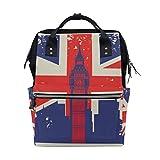 KIMDFACE バックパック イギリス国旗ビッグベンロンドン 男女兼用 通学 通勤 旅行 スポーツ バッグ
