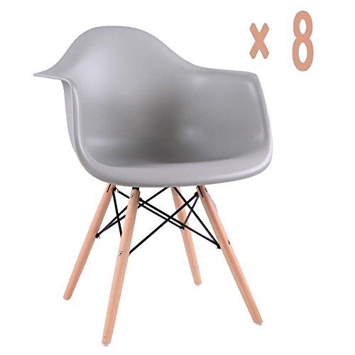 Ajie Lot von 8 Esszimmerstuhl, Retro Stuhl Beistelltisch mit Solide Buchenholz Bein - Grau