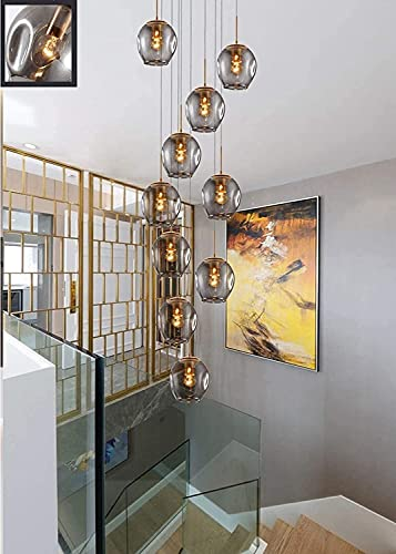HEZ Kroonluchters met glazen bol, kroonluchter voor de woonkamer, meters, trappenhuis, modern lustre, grijs