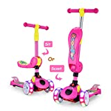 AOODIL 3-Wheeled Scooter for Kids 3-12 Years Old with Foldable Seat LED Lights Kick Scooter 4 Height Adjustable for Toddlers Perfect for Boys and Girls,Pink