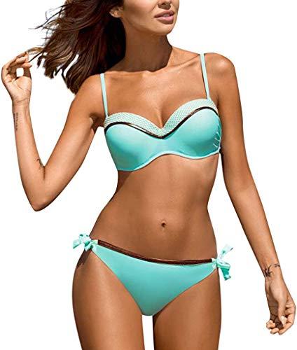 CheChury Mujer Conjunto de Bikini Dos Piezas Traje de Baño Mujer Sexy 2020 Push-up Sujetador Bañador Anudado de Color Brillante Bañadores Triángulo Bikinis Brasileños