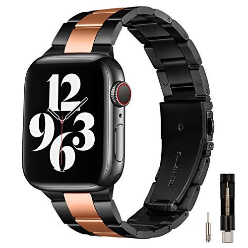 GEARYOU Pulsera de metal compatible con Apple Watch, 44 mm, 42 mm, 40 mm, 38 mm, pulsera de negocios, de acero inoxidable, compatible con iWatch Serie 6/5/4/3/2/1, SE (42 mm, 44 mm, negro/oro rosa).