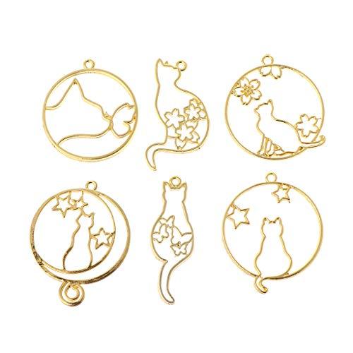 MIKI-Z Juego de 6 piezas con estructura de metal, joyas hechas a mano, con forma de gato, con marcos vacíos, herramientas de resina epoxi UV, accesorios para decoración hecha a mano