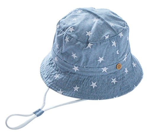 BXT Unisex Kinder Fischerhut Cowboy Hut Frühjahr Sommerhut Sonnenhut Jeans-Baumwolle Babymütze UV Schutz Fischerhut Stern Drucken Muster Sonnenut mit Kinnriemen