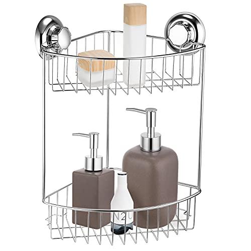 MaxHold Saugschraube Duscheckregal 2 Etagen, Befestigen ohne Bohren – Edelstahl rostfrei – Küchen & Badezimmer Aufbewahrung