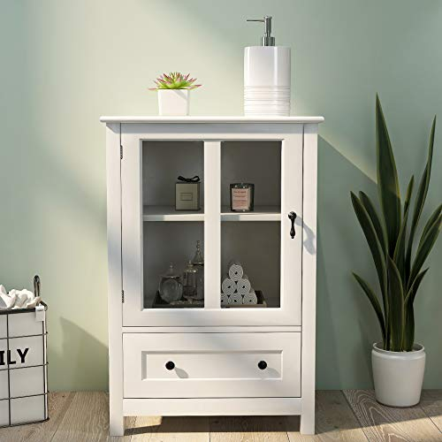 SOFURFA Storage Cabinet with Single Glass Doors and Unique Bell Handle