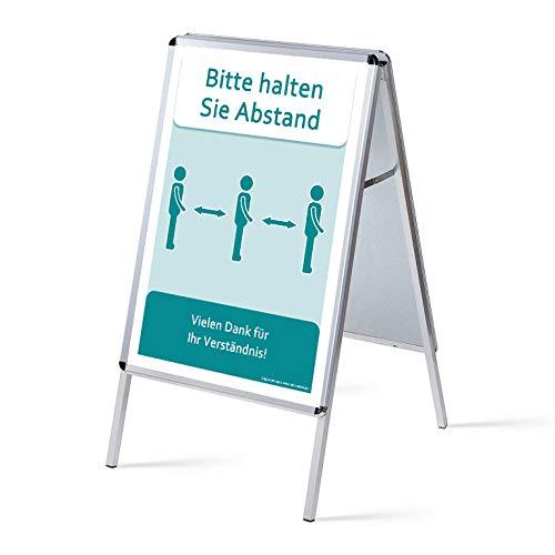 TOPARTIKEL: A1 Kundenstopper wetterfest, Metallrückwand, Werbeaufsteller Plakatständer Kundenstopper A1 beidseitg mit Schutzfolien