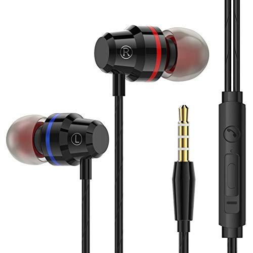 HShyxlkj koptelefoon van metaal in het oor, M5 3,5 mm, stereo, Deep Bass in-ear hoofdtelefoon van metaal met microfoonbesturing
